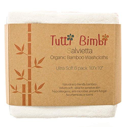 blanche Tutti BimbiGant de toilette en flanelle de b/éb/é en bambou certifi/é biologique