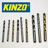 Kinzo Kombi-Bohrer SET 9 tlg., 5-6-8 mm, Kasette, Stein Holz Metall Bohrer Satz (LHS)