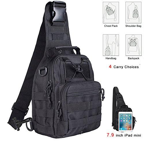 Tactical Sling Bag Cross-Body-Brust Rucksack Militär Schulter Pack EDC MOLLE-Fliegen Fischen Packungen für iPad Nylon Outdoor Camping Wandern Trekking Reise Daypack, schwarz