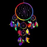 Traumfänger  Traditionelle Mehrere Regenbogen Farbe mit Federn 22cm Durchmesser u. 60 cm lang!