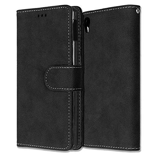 Solid Color PU Ledertasche horizontal mattiert Retro-Flip-Stand Case Wallet Fall weichen Silikon-Abdeckung mit Karte Cash Slots Foto Frame für Sony Xperia M4 Aqua E2303 E2333 E2353 ( Color : 6 , Size  1