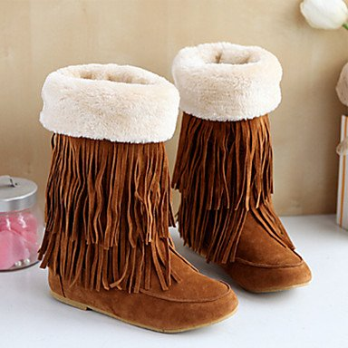 SANMULYH Scarpe Donna Primavera Autunno Novità Snow Boots Fashion Stivali Stivali Flat Punta Mid-Calf Scarponi Per Outdoor Party & Giallo
