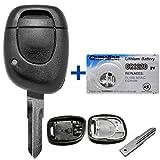 Auto Schlüssel Funk Fernbedienung 1x Gehäuse + 1x Rohling VAC102 + 1x CR1220 Batterie für Renault