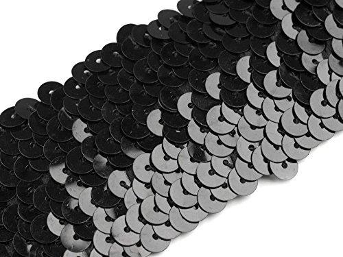 Stoffe-Online-Shop Stretch-Pailletten, Paillettenband, Paillettenborte elastisch, in schwarz, rot, Gold, Silber, blau, türkis, lila und pink erhältlich, Breite 45mm, VE: 1,5m (schwarz) (In Schwarz Und Silber, Stoff)