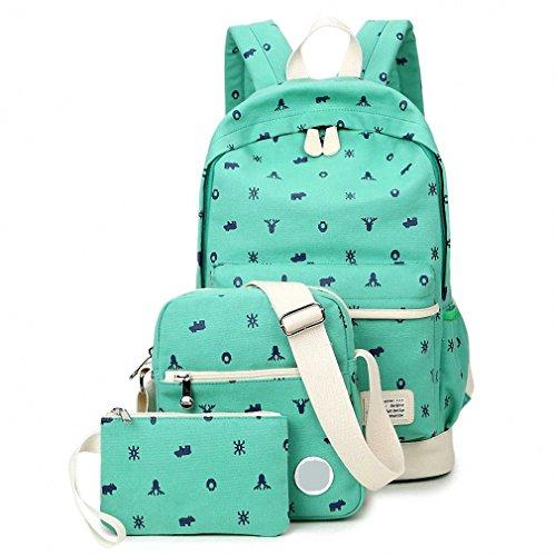 WanYang Unisex Canvas Backpack Tela Zaini Ragazza Zaino Casual Set 3pcs Daypacks Donna+ Messenger Bag + Purse Verde