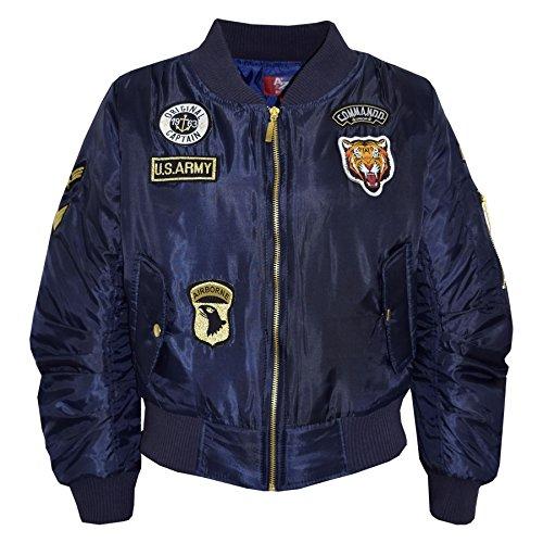 A2Z 4 Kids Enfants Filles Garçons Badges Imprimer - MA1 Jacket Badges. Navy 9-10