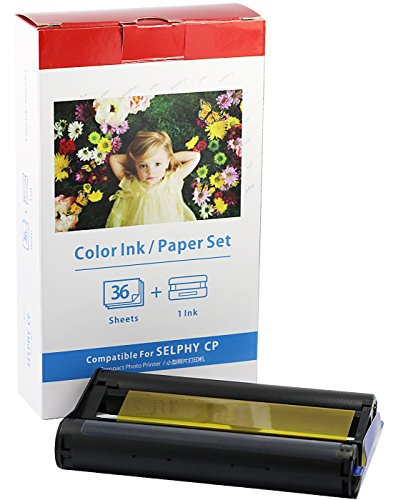 Bubprint Foto-Papier + Patrone kompatibel zu Canon Selphy KP-36IN KP-36IP CP1200 CP1000 CP910 ES1 ES2 CP200 (100x148mm)