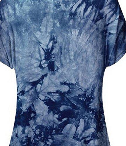 NiSeng Damen Sommer Freizeit Drucken Slim Fit Kurzarm Rundkragen Asymmetrische Tshirts Tops Bluse Blusen und Tuniken Halbarm Shirt Marine
