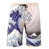 YuanDiann Uomo Taglia Grossa Grasso Costumi da Bagno Boardshorts da Spiaggia Stampa Gamba Dritta Asciugatura Veloce Tasche Nuoto Mare Surf Pantaloncini Costume Bermuda 110# Fiore 5XL