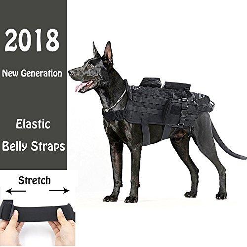Taktische Hundeweste, verstellbares Training Molle Harness 3 abnehmbare Beutel und 2 Griffe, 2 elastische Bauchriemen Service & Polizei große Hunde Geschirr für Wandern, Wandern und Camping(L) Tac Weste Beutel