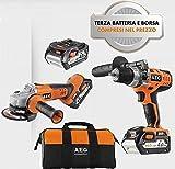 AEG Powertools - KIT AEG BSB 18C LI 402 C 18+ AEG BEWS 18-115X +PRO Lithium Ion L1840R 18V 4,0 Ah battery + soft bag - 4935451044
