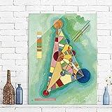 Bilderwelten Glasbild - Kunstdruck Wassily Kandinsky - Bunt im Dreieck - Expressionismus Hoch 4:3, Größe HxB: 80cm x 60cm