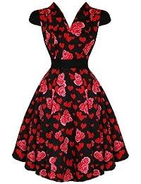 Hearts & Roses London Rot Blumen Herz Vintage 50s Party Ball Swing Kleid Hervorragende Qualität 10 S