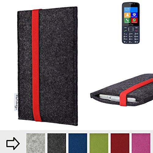 flat.design Handy Hülle Coimbra mit Gummiband-Verschluss für bea-fon SL820 - Schutz Case Smartphone Etui Filz Made in Germany in anthrazit rot - passgenaue Handytasche für bea-fon SL820
