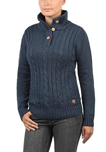 DESIRES Petra Damen Strickpullover Grobstrick mit Stehkragen aus hochwertiger Baumwollmischung Insignia Blue Melange (8991)