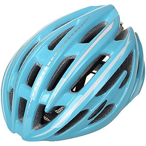 wildcycle strada mountain bike casco adulto ciclismo Caschi di sicurezza con luce LED, Uomo, blu
