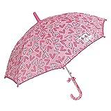 Regenschirm Ballon für Mädchen mit Rosa Herzen - Griff mit Bogen und Gestickte Grenze - Automatische Öffnung - 5 bis 7 Jahre - Durchmesser 80 cm - Perletti Cool Kids