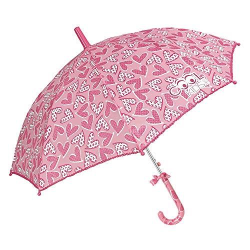 Paraguas Niña con Corazónes Rosa - Forma de Balon - Moño en el Mango y Borde de Ganchillo - Apertura Automática - 5/9 Años - Diámetro 80 cm - Perletti Cool Kids