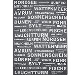 Pad - Decke - Wohndecke - Kuscheldecke - Typo - Grau - Nordsee - 150 x 200 cm