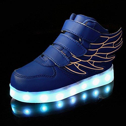 Fortuning's JDS Unisexe Enfant LED éclairé clignotant Sneakers USB Chargeur lumineux Chaussures filature Chaussures avec des ailes Bleu