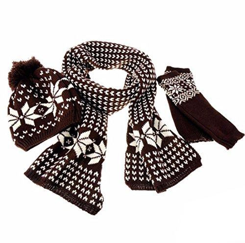 Kuyou - Ensemble bonnet, écharpe et gants - Femme Café