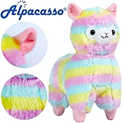 Peluche de alpaca de Kosbon, colores del arcoíris, 100% felpa, para cumpleaños y Navidad, regalo para niños y amigos