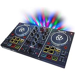 Numark Party Mix - Contrôleur DJ 2 Voies Plug-And-Play / Serato DJ Lite / Interface Audio Intégrée, Commandes de Pads, Crossfader, Jog Wheels et Éclairage Lumineux