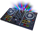 Numark Party Mix - Controller DJ plug-and-play a due canali per Serato DJ Lite, con interfaccia audio integrata, segnale cuffie, controlli Pad, crossfader, jog wheel e luci da discoteca