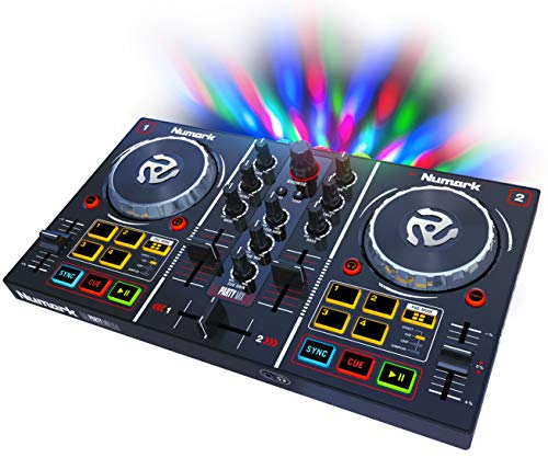 Numark Party Mix 2 Kanal Plug und Play DJ Controller für Serato DJ Lite mit eingebautem Audio Interface und Kopfhörer Cueing, Pad Performance Steuerung, Crossfader, Jog Wheels und Light Show (Dj Pad Scratch)