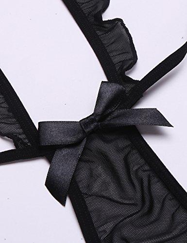 Avidlove Damen Erotik Body-Ouvert Stringbody mit Sexy Öffnung an der Brust Extravagante Reizwäsche Unterwäsche mit Neckholder Schwarz
