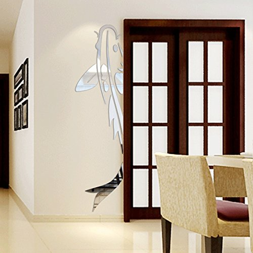 LLY GHKLGY Acryl Kunst 3D Spiegel Blume Wandaufkleber DIY Wandaufkleber Aufkleber Dekoration Sofa TV Wand Entfernbare Wandaufkleber, Silver (46 Outdoor-tv)