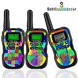 Kids Bay Kids Bay Walkie Talkie Kinder Spy-Gear Spielzeuge Funkgeräte 8 Kanäle 4KM Reichweite 10 Klingeltöne LCD Bildschirm eingebaute Taschenlampe 3 Schlüsselbänder Wasserdicht, 3 Stück Tarnung