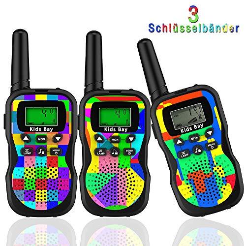 Kids Bay Walkie Talkie Kinder Spy-Gear Spielzeuge Funkgeräte 8 Kanäle 4KM Reichweite 10 Klingeltöne LCD Bildschirm eingebaute Taschenlampe 3 Schlüsselbänder Wasserdicht, 3 Stück Tarnung