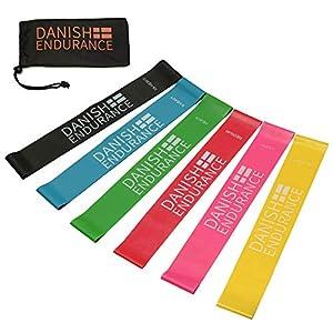 DANISH ENDURANCE Fitnessbänder, Loop Widerstandsbänder, Resistance Band, Krafttraining, 6er Set