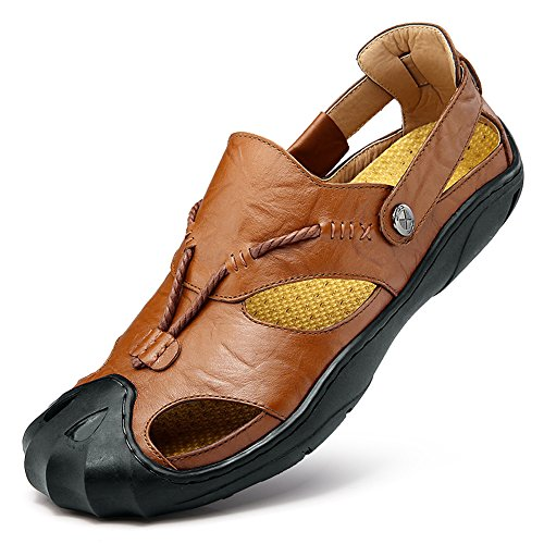 Men Leather Sandals Casual Closed Toe Comfy Footwear Fashion Beach Summer Outdoor Shoes Braun