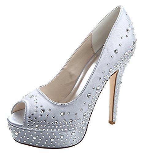 ZHENGXF Chaussure de mariage femme Escarpin sexy Chaussure de talon Argent
