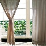OurWarm Häkel-Vorhang im Landhausstil Baumwolle und Leinen beige 180cm x 180cm