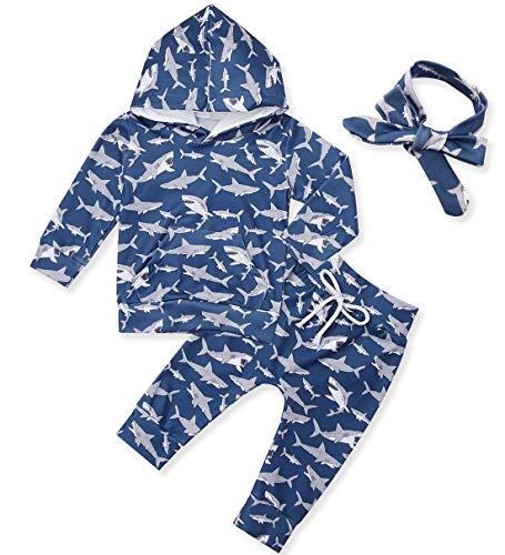 chicolife Unisex Baby Mädchen Newborn Trainingsanzug Little Shark Printed Hoody Sweatshirts Outfits für 3-6 Monate Jungen, Navy