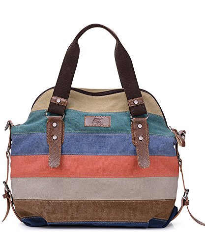 Rovanci Damen Multi-Color-Striped Canvas Damen Handtasche Umhängetasche für Frauen Braun Khaki