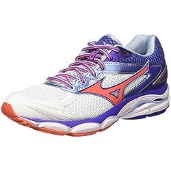 Mizuno - Scarpa Wave Ultima Wos - Chaussures de Running - Femme - Multicolore (White/fierycoral/liberty) - 37 EU (4.5 UK)