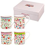 The Caravan Trail Fine China Riviera Larch Shaped Mugs in Giftbox, Set of 4, Floral