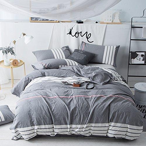 ZHUDJ Wind Wasser Waschen Volle Baumwolle Vier Stücke von 1,8 M Bettwäsche aus Reiner Baumwolle Bettwäsche Bettbezug Bettbezug 2 Doppelzimmer, Zeit, Gott (Asche), 2,0 M (6,6 Fuß) Bett Stahl