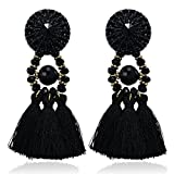 eManco Statement Schwarz Quasten Damen-Ohrringe mit Kristalle Perlen Bohemien Vintage Handcrafted Tracht Schmuck