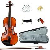 Esound 3/4 ML0042 Handgemacht Massivholz Ebenholz Ausgestattet Violine mit Hartschalenkoffer, Schulterstütze, Bogen, Kolophonium und Zusätzliche Saiten