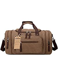 Oversized Canvas Weekender Bag ,Fresion Large Travel Tote Luggage Men's Duffle Bag For Women & Men with 44L