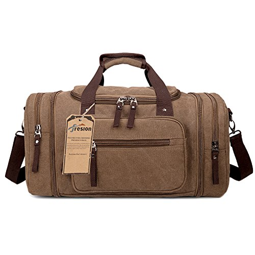Mens Canvas Holdall, Fresion Classy Travel Duffle Overnight Weekend Satchel Totes Bag with Two Side Pockets for Extensions(Coffee)