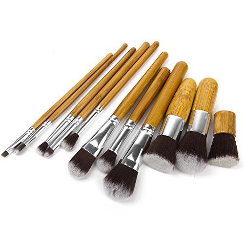 PIXNOR Lot de 11 Pinceaux de Maquillage Cosmétiques en Bambou + Pochette