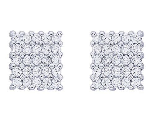 White Gold Yo yo Honey Singh Style Inspired Square Cubic Zircons cz HQ Earrings Studs  available at amazon for Rs.488