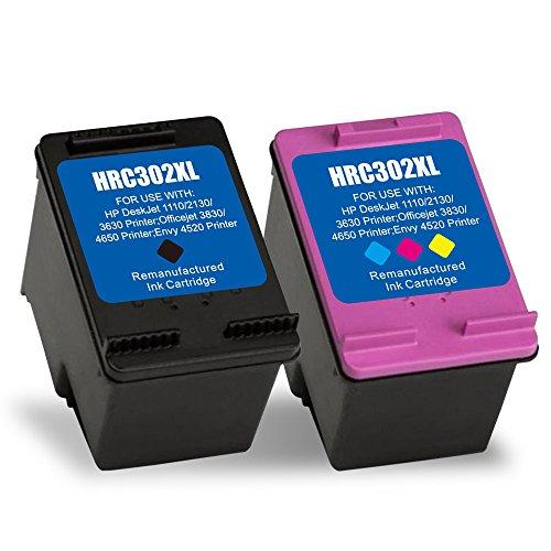 2 Remanufactured Druckerpatronen 302XL 302 XL Kompatibel für HP Deskjet 1110 2130 3630 Officejet 3830 3831 3832 3833 3834 3835 4650 4652 4654 4655 4657 4658 ENVY 4510 4512 4516 4520 4521 4522 4524 4525 4527 4528 All-in-One Drucker,Schwarz Farbe