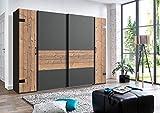 lifestyle4living Kleiderschrank 4-türig in Silber-Tanne-Dekor/Graphit, Dreh-/Schwetürenschrank mit viel Stauraum, ca. 270 cm breit, Industrial-Design
